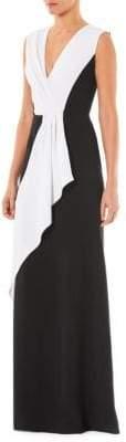Carolina Herrera Two-Tone V-Neck Gown