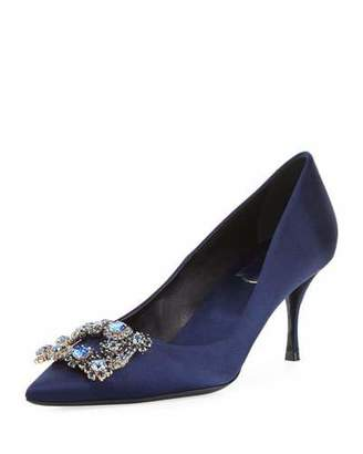 Roger Vivier Crystal Buckle Satin Pumps, Navy