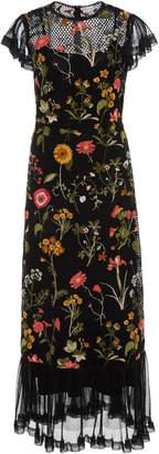 RED Valentino Macrame Floral Short Sleeve Midi Dress