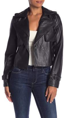 Bagatelle Cropped Faux Leather Trench Jacket