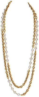 One Kings Lane Vintage Chanel Double-Strand Faux-Pearl Necklace - Vintage Lux