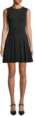 RED Valentino Sleeveless Crewneck Mini Dress w/ Stud Embellished Skirt