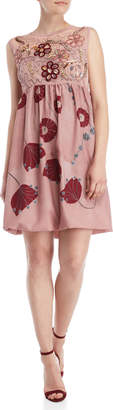 Save The Queen Floral Applique Babydoll Dress