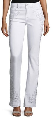 7 For All Mankind Truly NM Embellished Boot-Cut Jeans, White $399 thestylecure.com