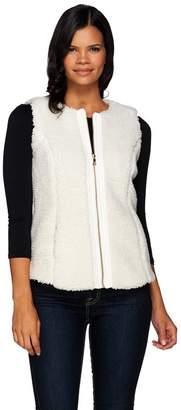 Denim & Co. Zip Front Faux Sherpa Vest