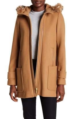 Trina Turk Allyson Genuine Coyote Fur Trimmed Hooded A-Line Coat