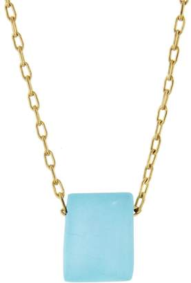 Ten Thousand Things Turquoise Chicklet Necklace - Yellow Gold