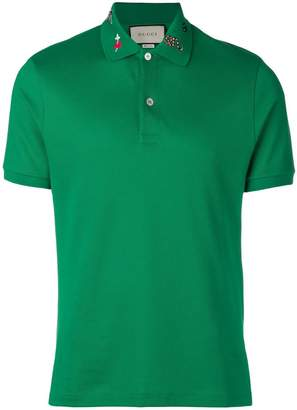 Gucci collar motifs polo shirt