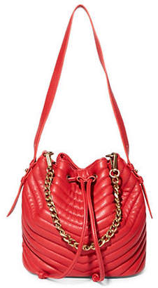 Steve Madden Marge Chevron Quilted Drawstring Bucket Bag