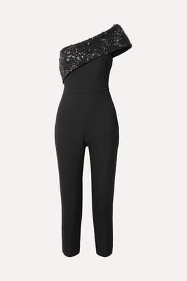 Cushnie - One-shoulder Embellished Cady Jumpsuit - Black