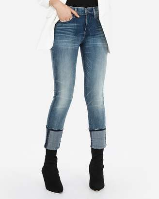 Express Mid Rise Denim Perfect Cuffed Cropped Skinny Jeans