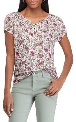 Chaps Petite Floral-Print Lace-Up Jersey Top