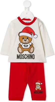 Moschino Kids santa teddy logo print T-shirt and trousers set