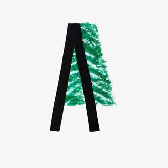 Dries Van Noten Black and green feather and cashmere scarf