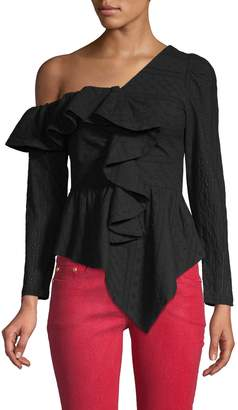 Lea & Viola One-Shoulder Ruffle Blouse