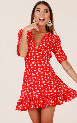 Showpo Maribelle dress in red floral - 20 (XXXXL) Casual Outfits