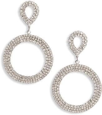 CRISTABELLE Double Swoop Crystal Hoop Earrings