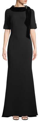 Badgley Mischka Velvet & Grommet Stand-Collar Crepe Gown