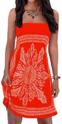 Initial Inital Women's Strapless Dress Floral Print Bohemian Beach Dress Bikini Cover-up Dress
