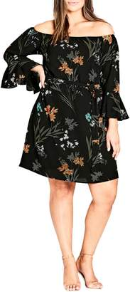 City Chic Wild Floral Off the Shoulder Tunic Dress