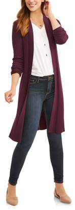 Time and Tru Women's Ribbed Duster Cardigan