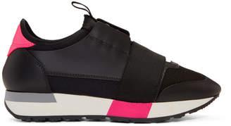 Balenciaga Black and Pink Race Sneakers