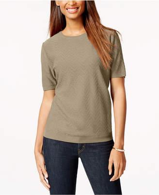 Alfred Dunner Textured Chevron Short-Sleeve Sweater
