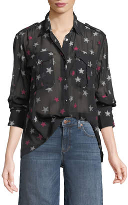 Rag & Bone Pearson Button-Down Star-Print Sheer Silk Shirt
