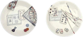 One Kings Lane Vintage French Gien Gaming Theme Plates - Set of 2