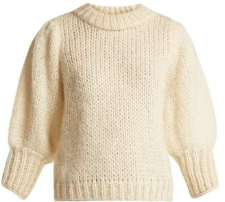 Ganni Julliard Mohair And Wool Blend Sweater - Womens - Ivory
