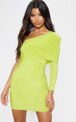 PrettyLittleThing Lime Slinky One Shoulder Cape Detail Bodycon Dress