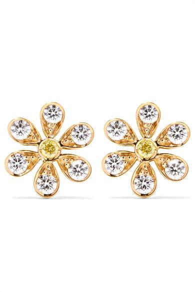 Sophie Bille Brahe - Marguerite 18-karat Gold Diamond Earrings