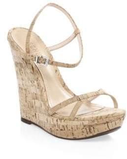 Schutz Auria Cork Wedge Ankle-Strap Sandals