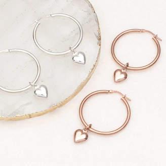 85e9dd558 Hurleyburley 18ct Gold Or Silver Heart Charm Hoop Earrings