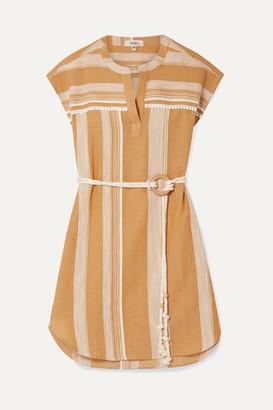 Lemlem Net Sustain Derartu Belted Striped Cotton-gauze Mini Dress - Neutral