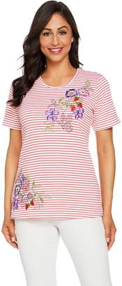 Factory Quacker Floral Embroidered Striped Short Knit T-Shirt