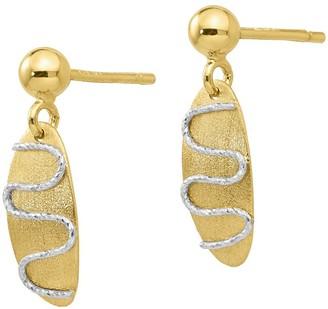 Italian Gold Oval Dangle Post Earrings, 14K