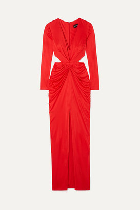 HANEY Sara Cutout Draped Satin-jersey Dress - Red
