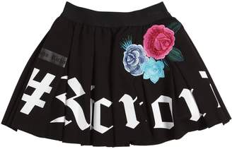 John Richmond Logo Printed Mini Skirt W/ Patches
