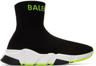 Balenciaga (バレンシアガ) - Balenciaga ブラック and イエロー ロゴ スピード スニーカー