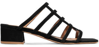 BY FAR - Grid Suede Sandals - Black