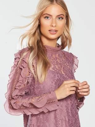 Little Mistress Ruffle Sleeve Lace Shift Dress - Canyon Rose