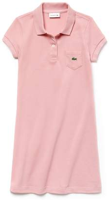 6eab63fd2878 Lacoste Girls  flared dress in solid mini pique cotton