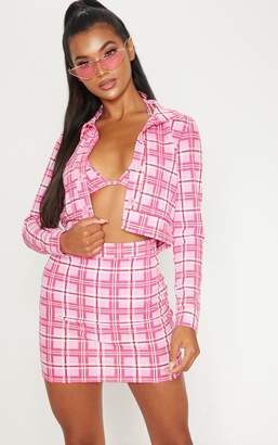 PrettyLittleThing Pink Check Print Button Front Cropped Jacket