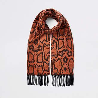 River Island Orange snake print scarf