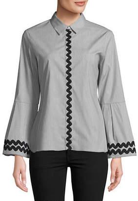 Isaac Mizrahi IMNYC Bell-Sleeve Button-Up Collared Top
