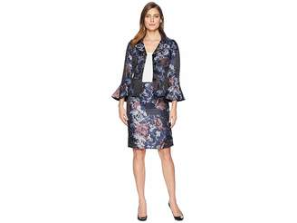 Tahari ASL Floral Jacquard Portrait Collared Skirt Suit Women's Suits Sets