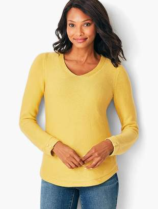 Talbots Link-Stitch V-Neck Sweater