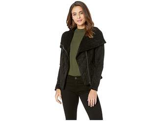 Blank NYC Black Faux Suede Jacket with Zipper Detail in X-Factor
