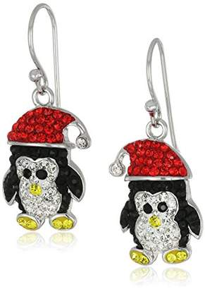 Original Penguin Silver Plated Crystal Santa Hat Drop Earrings